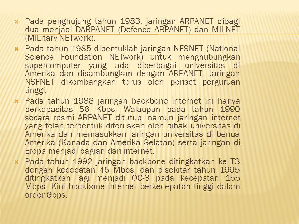 Pada penghujung tahun 1983, jaringan ARPANET dibagi dua menjadi DARPANET (Defence ARPANET) dan MILNET (MILitary NETwork).