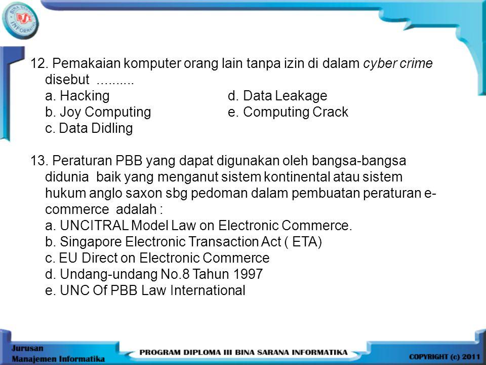 12. Pemakaian komputer orang lain tanpa izin di dalam cyber crime