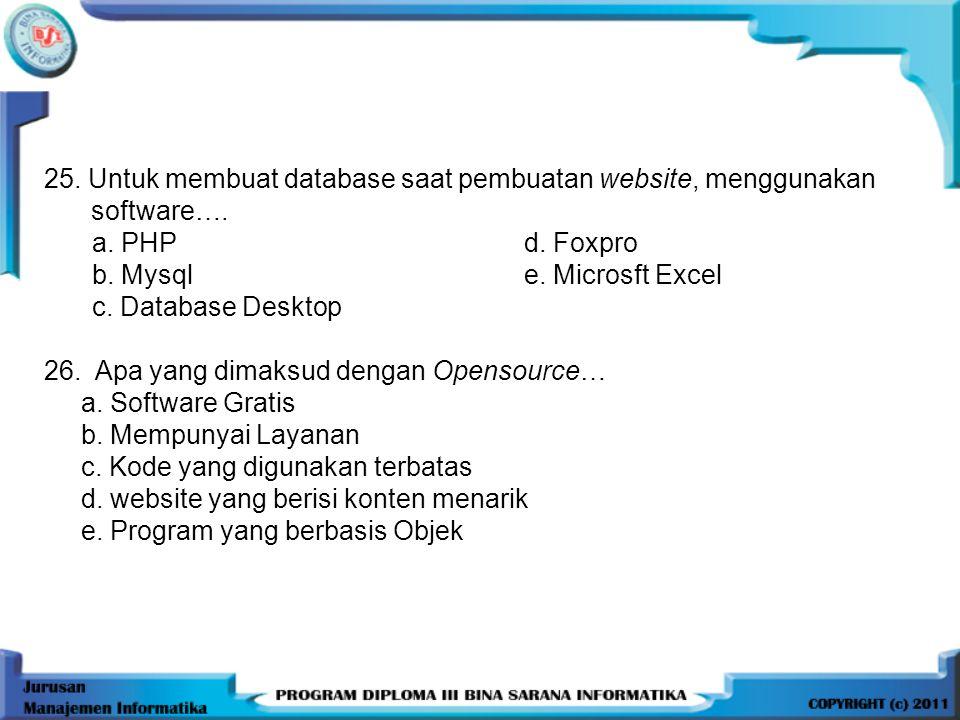 25. Untuk membuat database saat pembuatan website, menggunakan software….