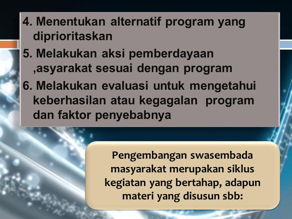 4. Menentukan alternatif program yang diprioritaskan 5