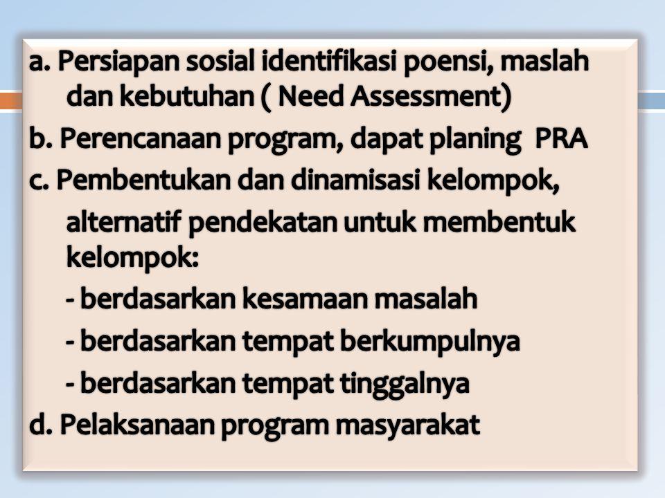 a. Persiapan sosial identifikasi poensi, maslah dan kebutuhan ( Need Assessment) b.