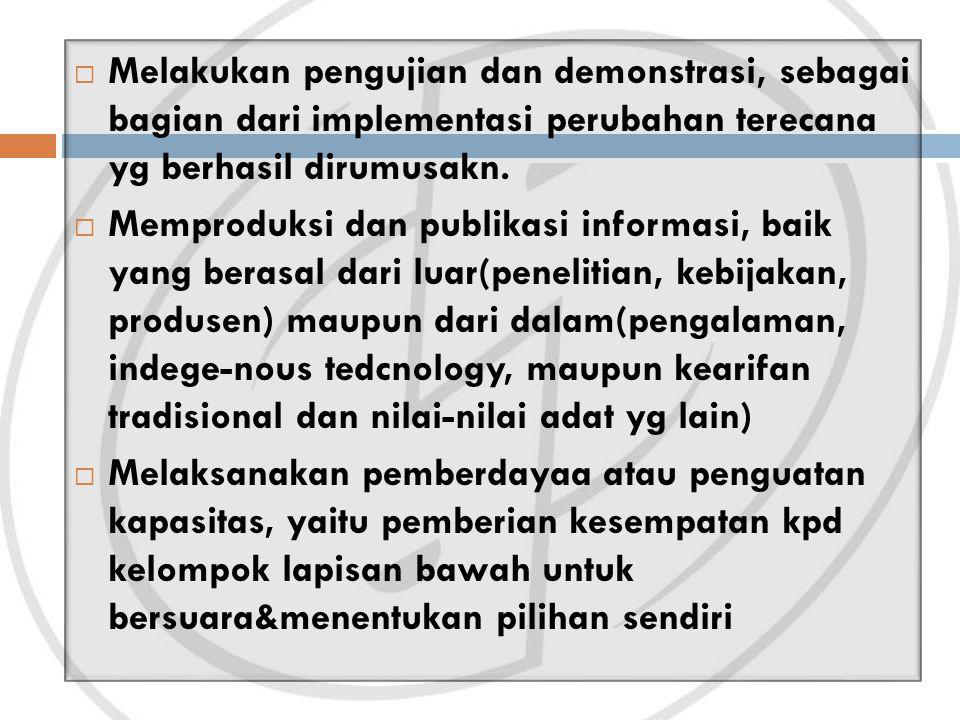 Melakukan pengujian dan demonstrasi, sebagai bagian dari implementasi perubahan terecana yg berhasil dirumusakn.