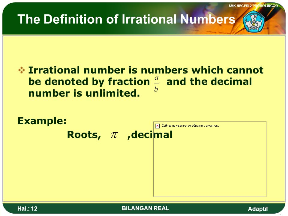 The Definition of Irrational Numbers