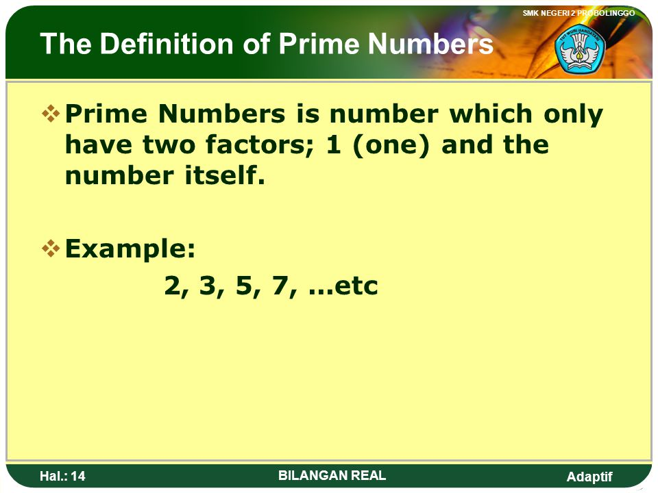 The Definition of Prime Numbers