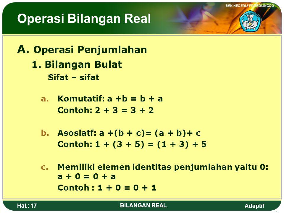 Operasi Bilangan Real A. Operasi Penjumlahan 1. Bilangan Bulat