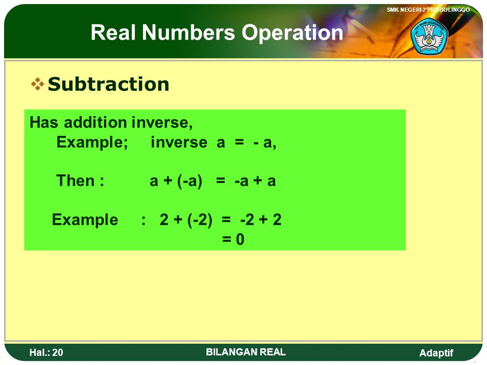 Real Numbers Operation