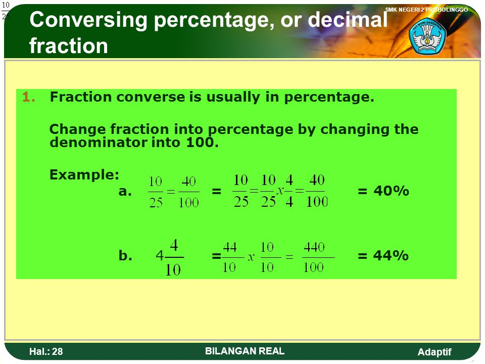 Conversing percentage, or decimal fraction