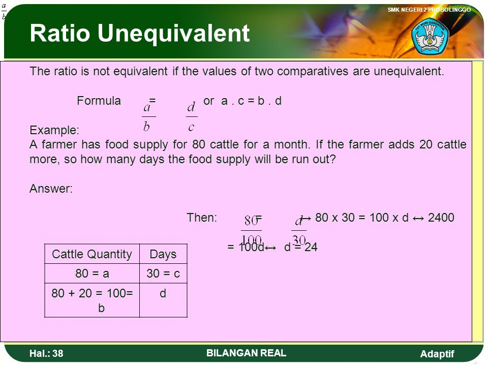 Ratio Unequivalent The ratio is not equivalent if the values of two comparatives are unequivalent. Formula = or a . c = b . d.