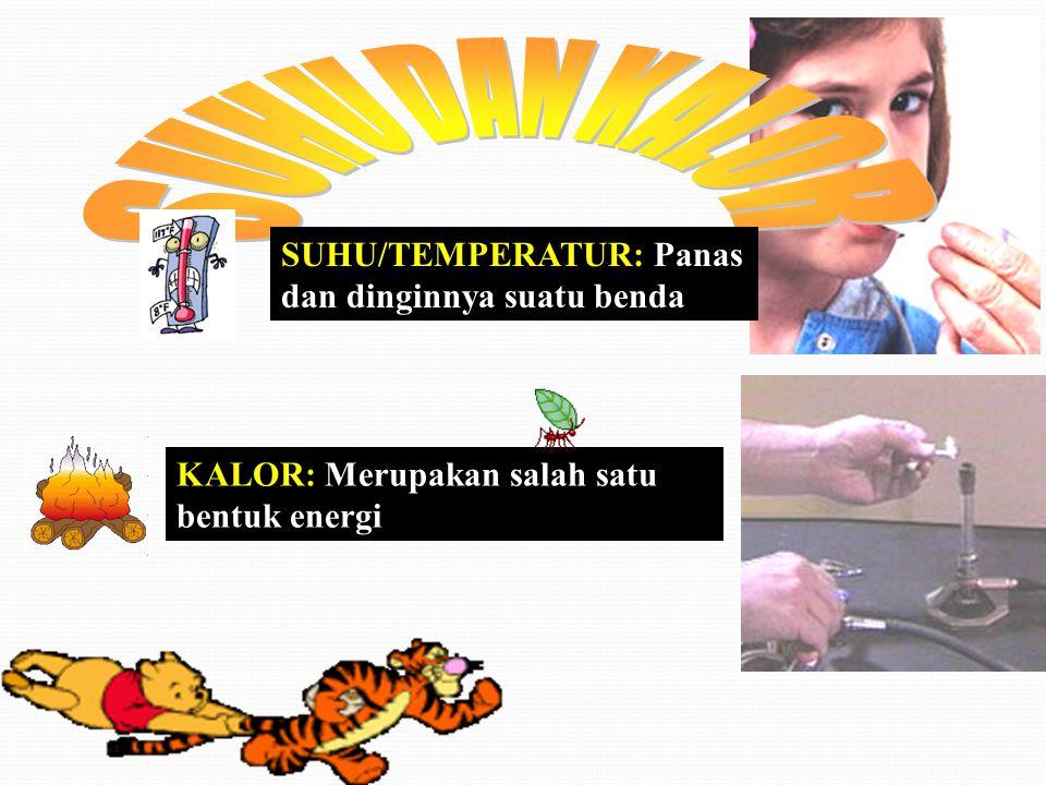 SUHU DAN KALOR SUHU/TEMPERATUR: Panas dan dinginnya suatu benda