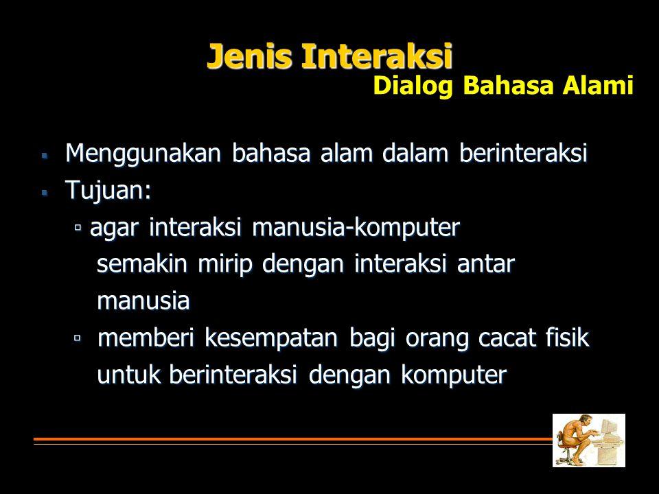 Jenis Interaksi Dialog Bahasa Alami