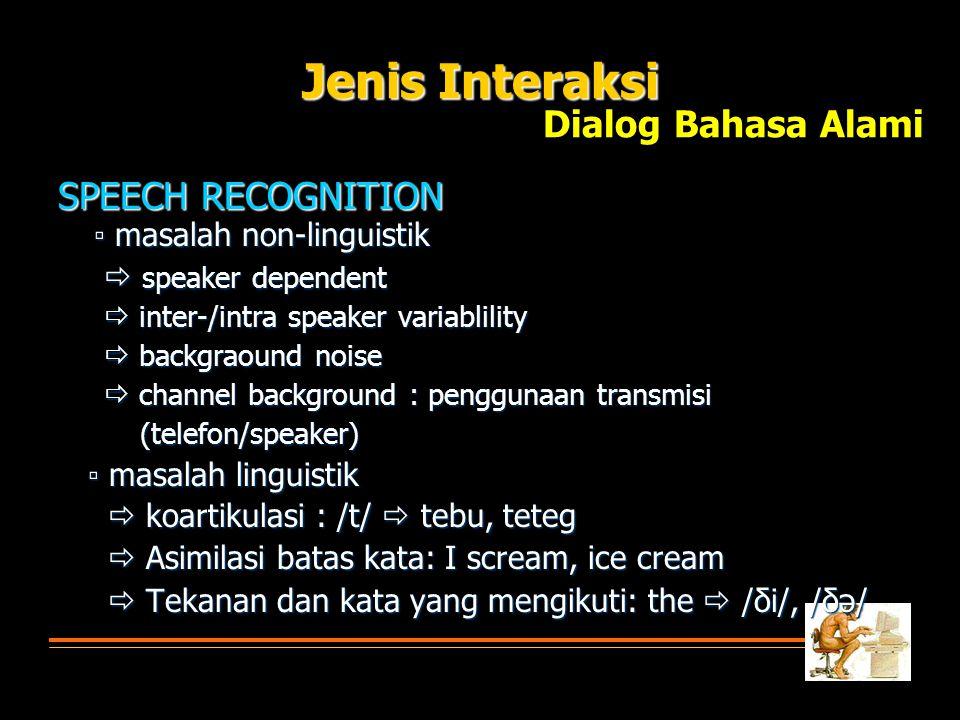 Jenis Interaksi Dialog Bahasa Alami SPEECH RECOGNITION
