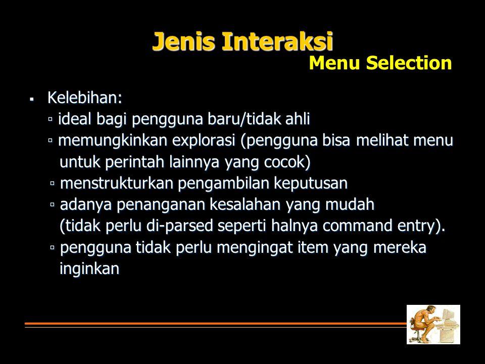 Jenis Interaksi Menu Selection Kelebihan: