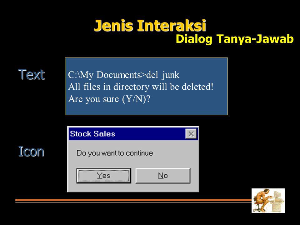 Jenis Interaksi Text Icon Dialog Tanya-Jawab