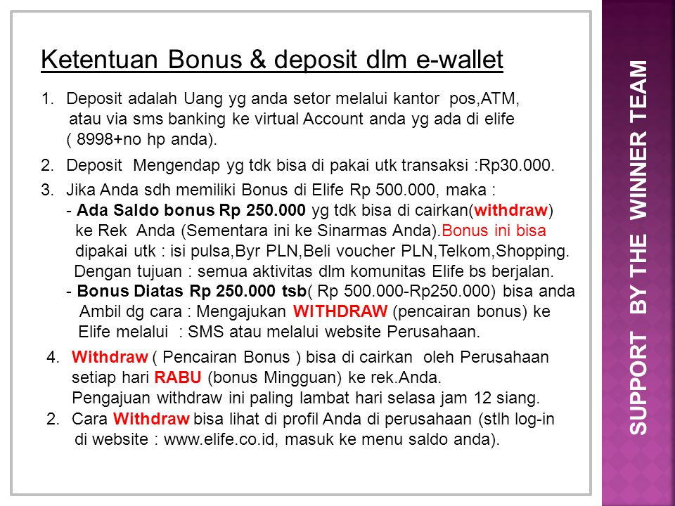 Ketentuan Bonus & deposit dlm e-wallet