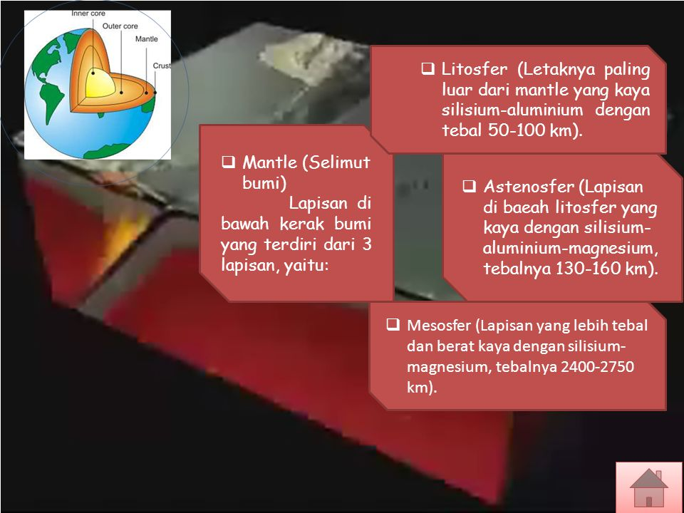 Litosfer (Letaknya paling luar dari mantle yang kaya silisium-aluminium dengan tebal 50-100 km).