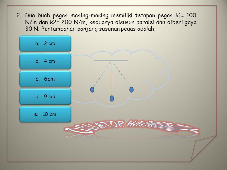 Dua buah pegas masing-masing memiliki tetapan pegas k1= 100 N/m dan k2= 200 N/m, keduanya disusun paralel dan diberi gaya 30 N. Pertambahan panjang susunan pegas adalah