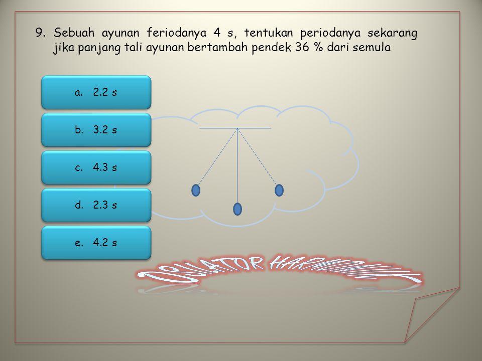 Sebuah ayunan feriodanya 4 s, tentukan periodanya sekarang jika panjang tali ayunan bertambah pendek 36 % dari semula