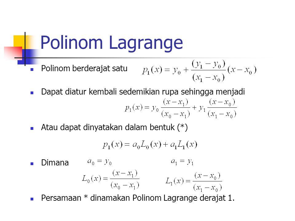 Polinom Lagrange Polinom berderajat satu