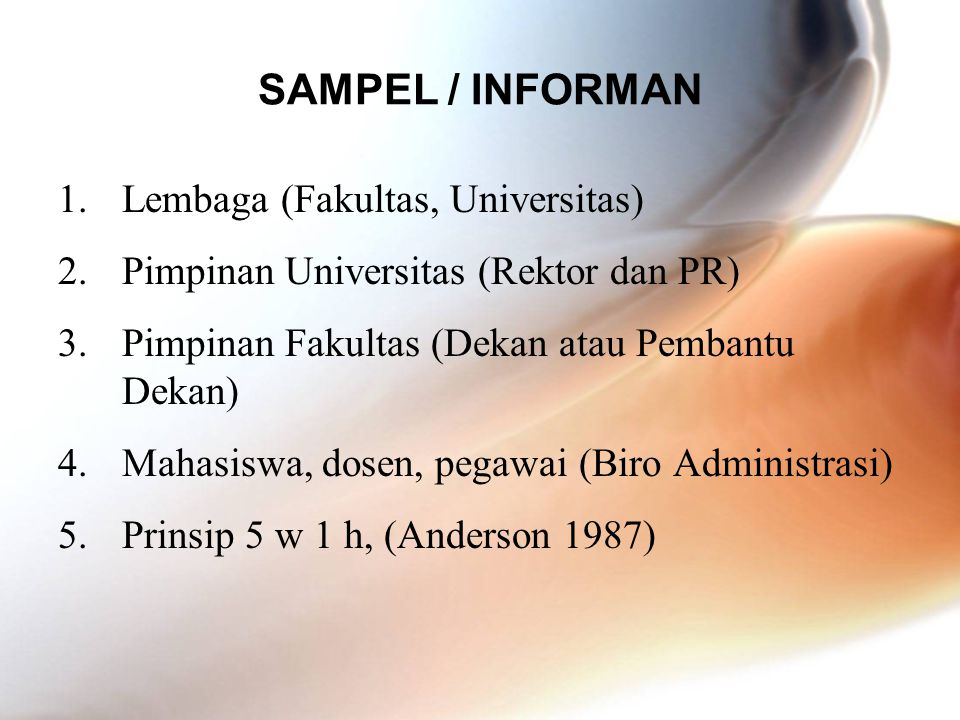 SAMPEL / INFORMAN Lembaga (Fakultas, Universitas)