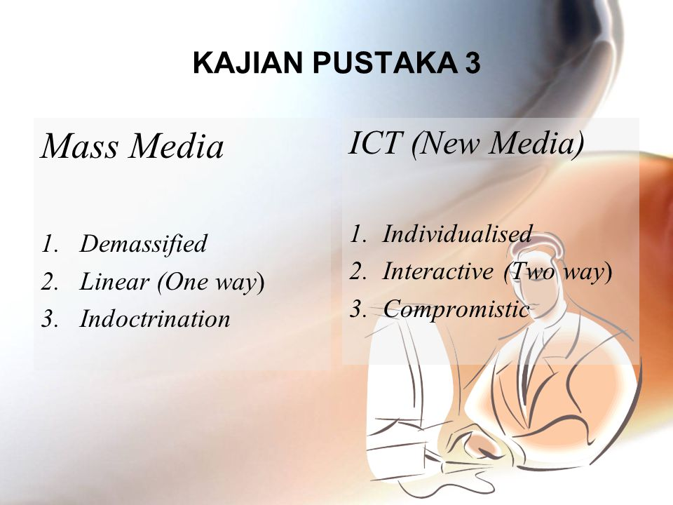 Mass Media ICT (New Media) KAJIAN PUSTAKA 3 Individualised Demassified