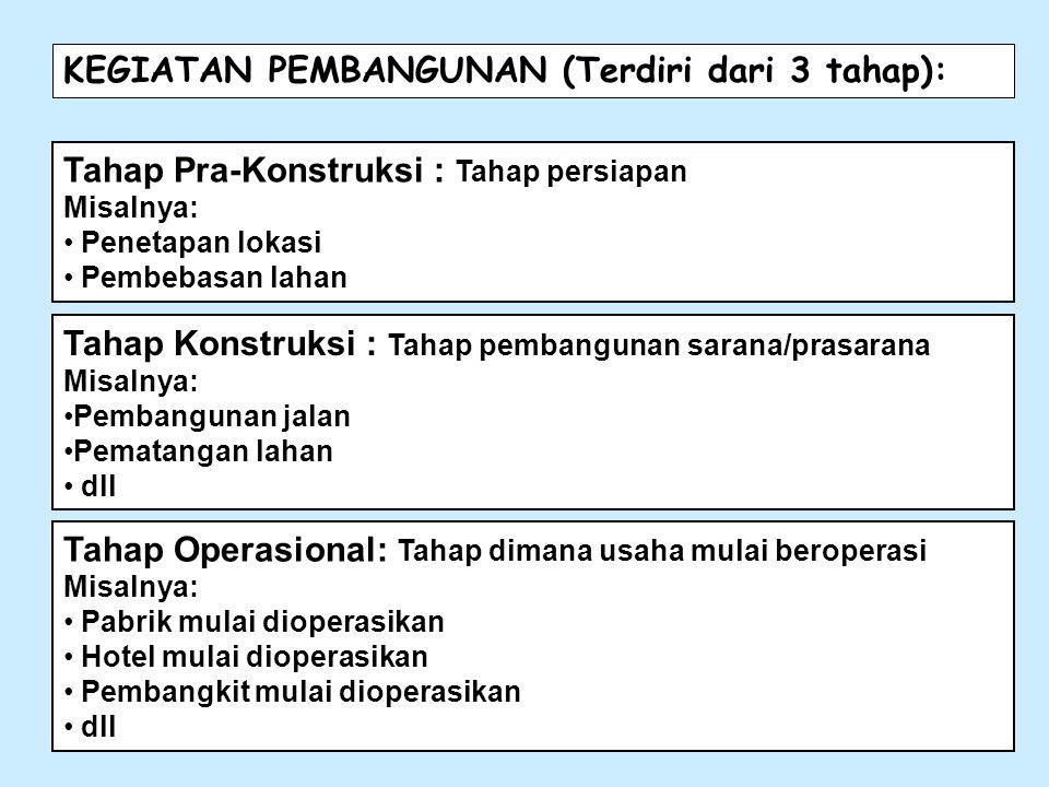 KEGIATAN PEMBANGUNAN (Terdiri dari 3 tahap):
