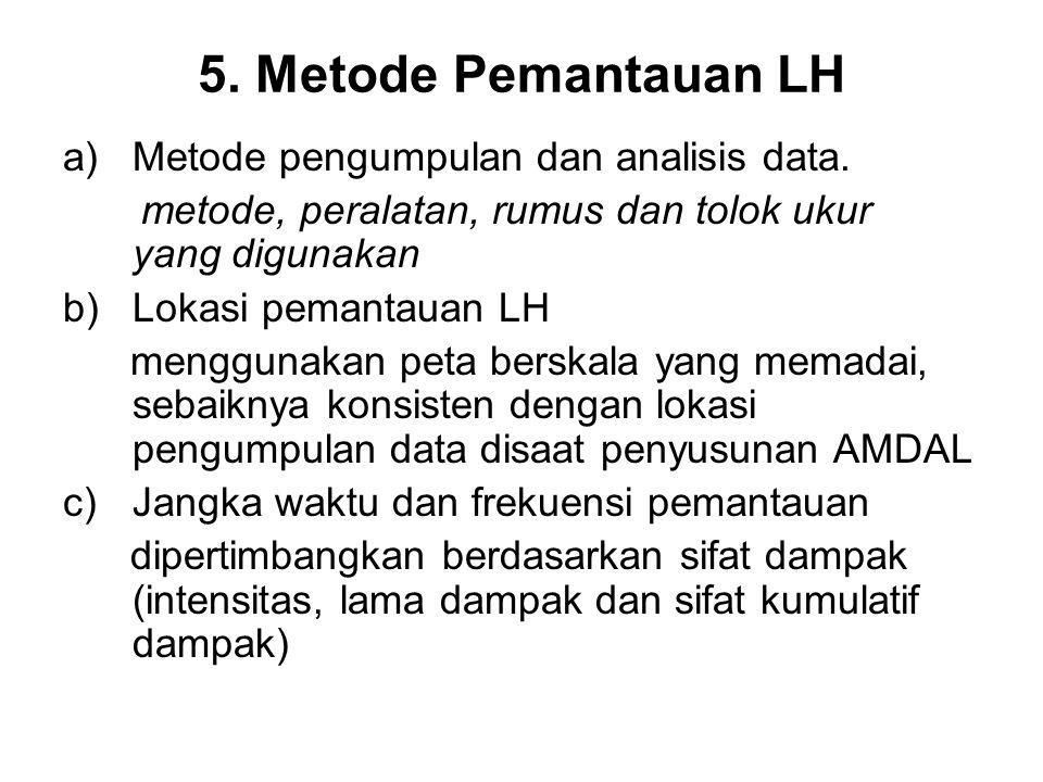 5. Metode Pemantauan LH Metode pengumpulan dan analisis data.