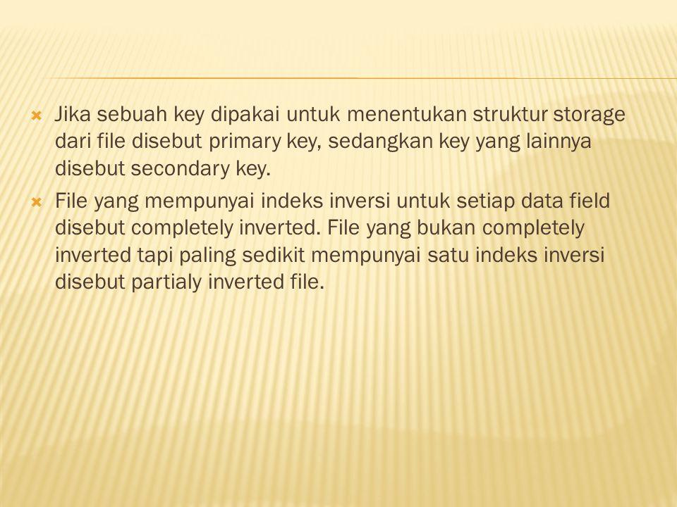 Jika sebuah key dipakai untuk menentukan struktur storage dari file disebut primary key, sedangkan key yang lainnya disebut secondary key.