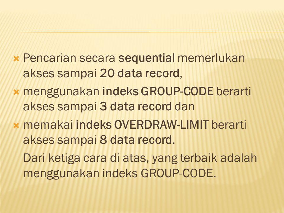 Pencarian secara sequential memerlukan akses sampai 20 data record,