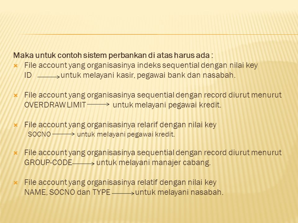 Maka untuk contoh sistem perbankan di atas harus ada :