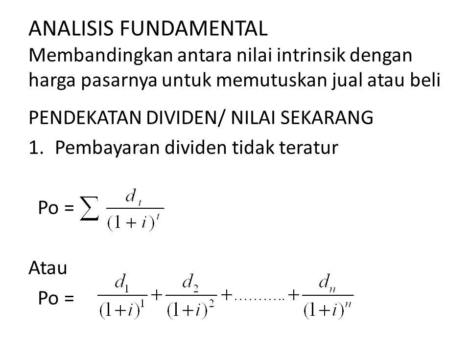 ANALISIS FUNDAMENTAL Membandingkan antara nilai intrinsik dengan harga pasarnya untuk memutuskan jual atau beli