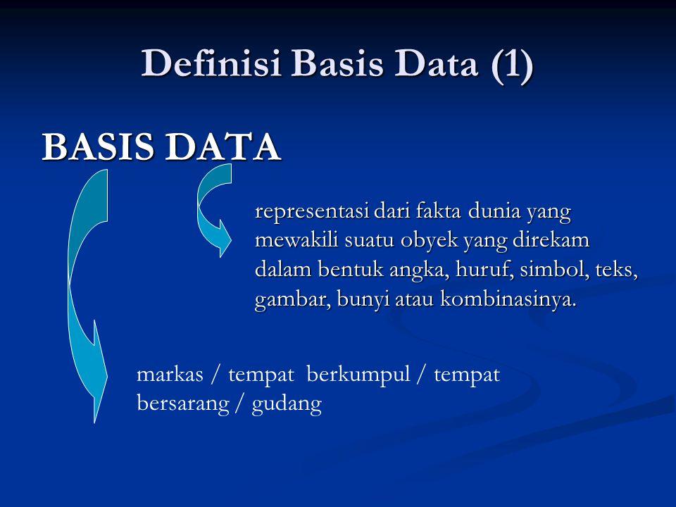 Definisi Basis Data (1) BASIS DATA