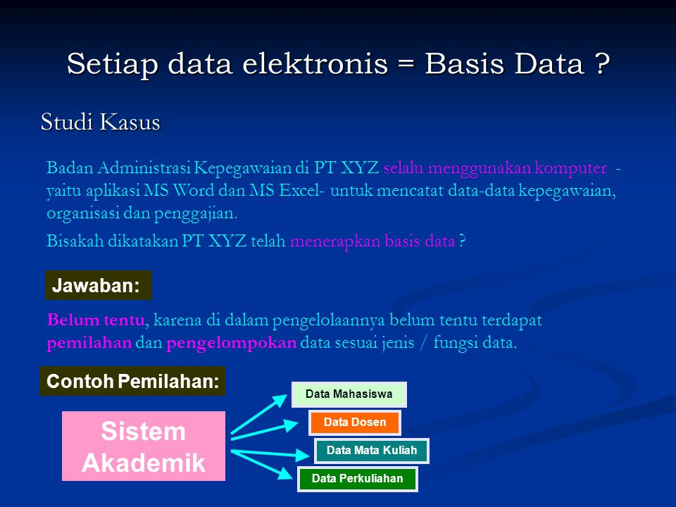 Setiap data elektronis = Basis Data