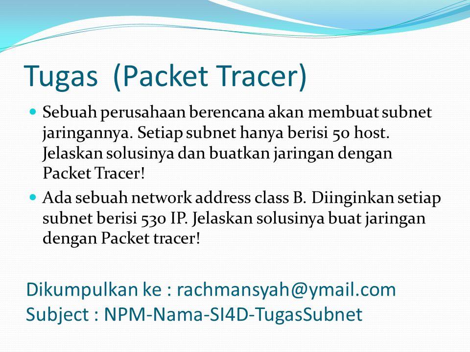 Tugas (Packet Tracer) Dikumpulkan ke : rachmansyah@ymail.com