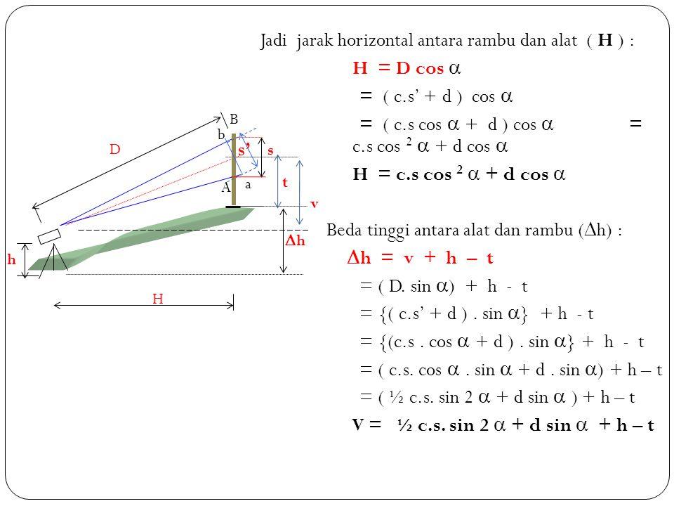 Jadi jarak horizontal antara rambu dan alat ( H ) : H = D cos 