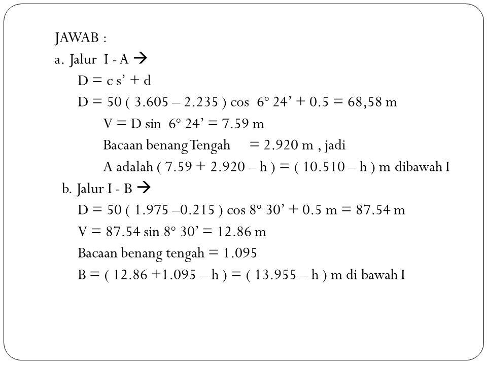 JAWAB : a. Jalur I - A  D = c s' + d D = 50 ( 3. 605 – 2