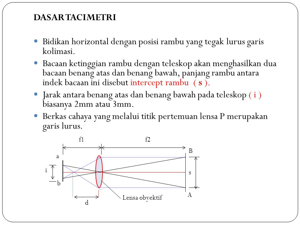 DASAR TACIMETRI Bidikan horizontal dengan posisi rambu yang tegak lurus garis kolimasi.
