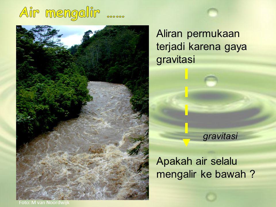 Air mengalir …… Aliran permukaan terjadi karena gaya gravitasi
