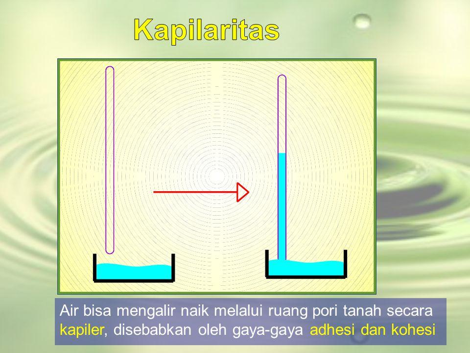 Kapilaritas Air bisa mengalir naik melalui ruang pori tanah secara kapiler, disebabkan oleh gaya-gaya adhesi dan kohesi.
