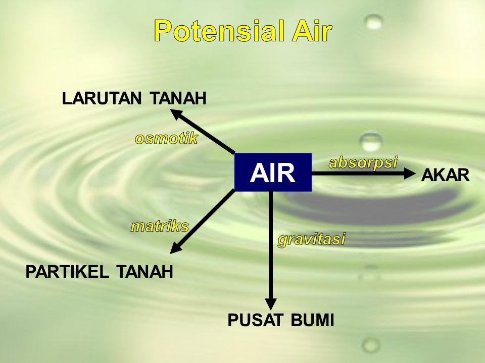Potensial Air AIR LARUTAN TANAH AKAR PARTIKEL TANAH PUSAT BUMI osmotik