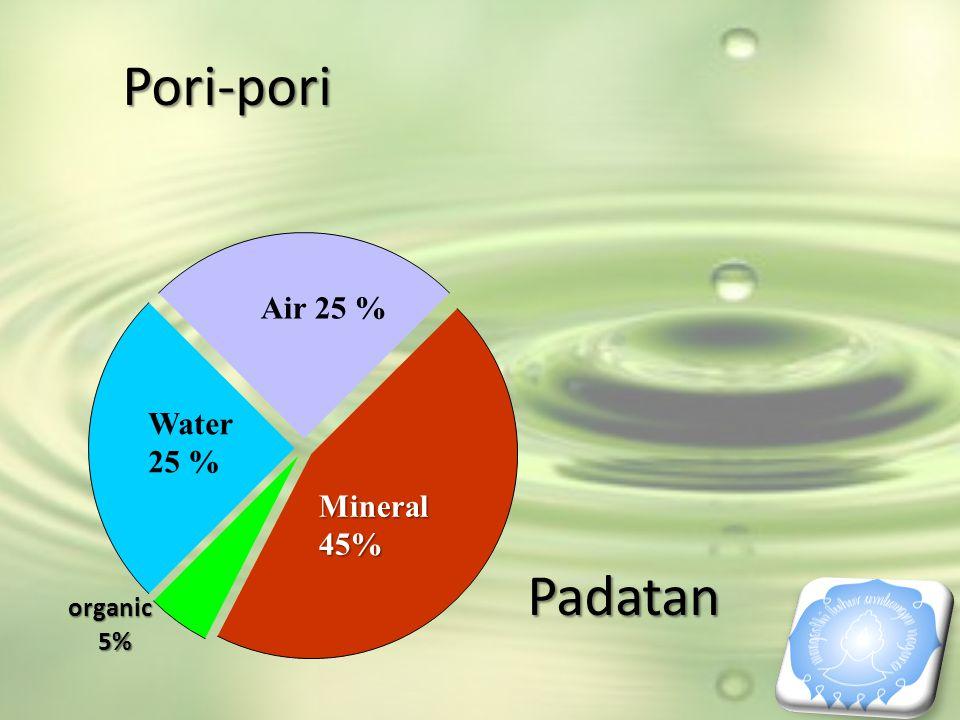 Pori-pori Mineral 45% Air 25 % Water 25 % organic 5% Padatan