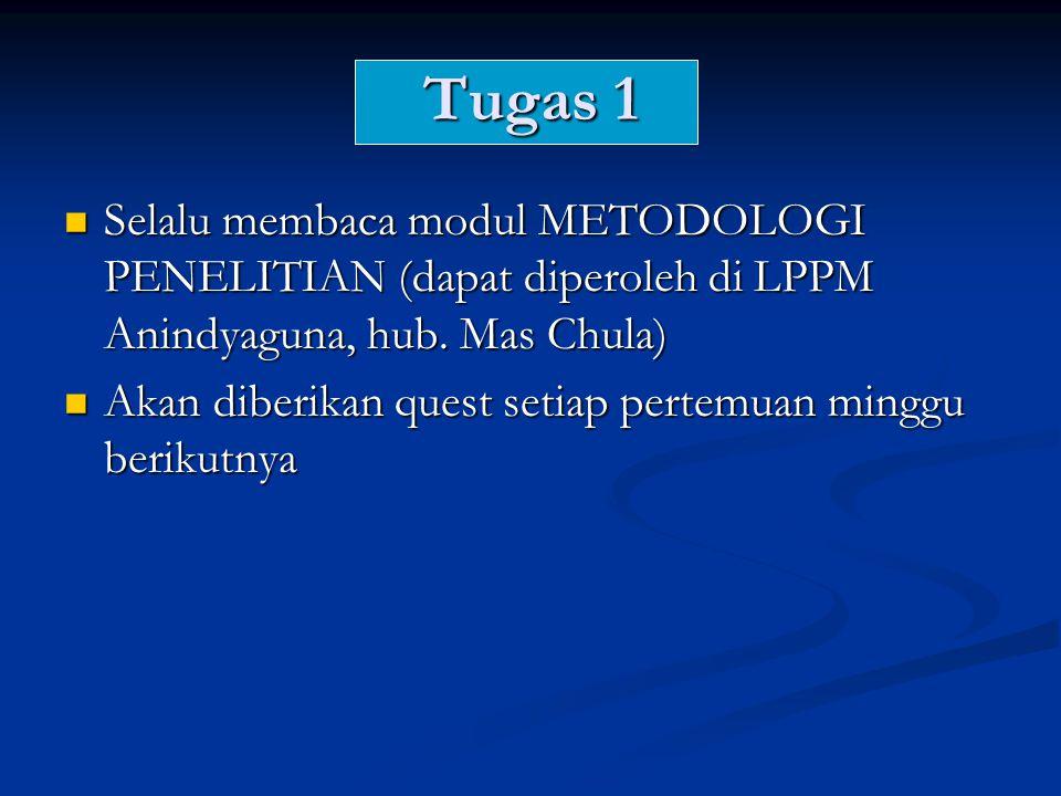 Tugas 1 Selalu membaca modul METODOLOGI PENELITIAN (dapat diperoleh di LPPM Anindyaguna, hub. Mas Chula)