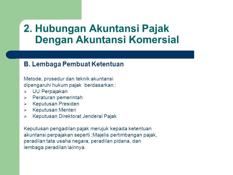 2. Hubungan Akuntansi Pajak Dengan Akuntansi Komersial