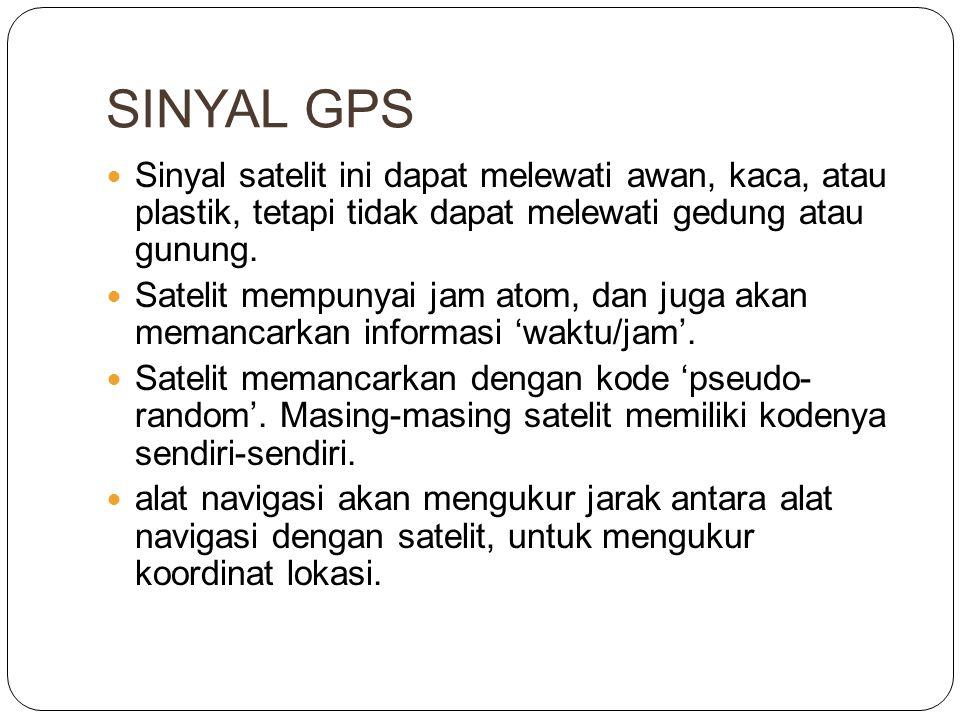 SINYAL GPS Sinyal satelit ini dapat melewati awan, kaca, atau plastik, tetapi tidak dapat melewati gedung atau gunung.