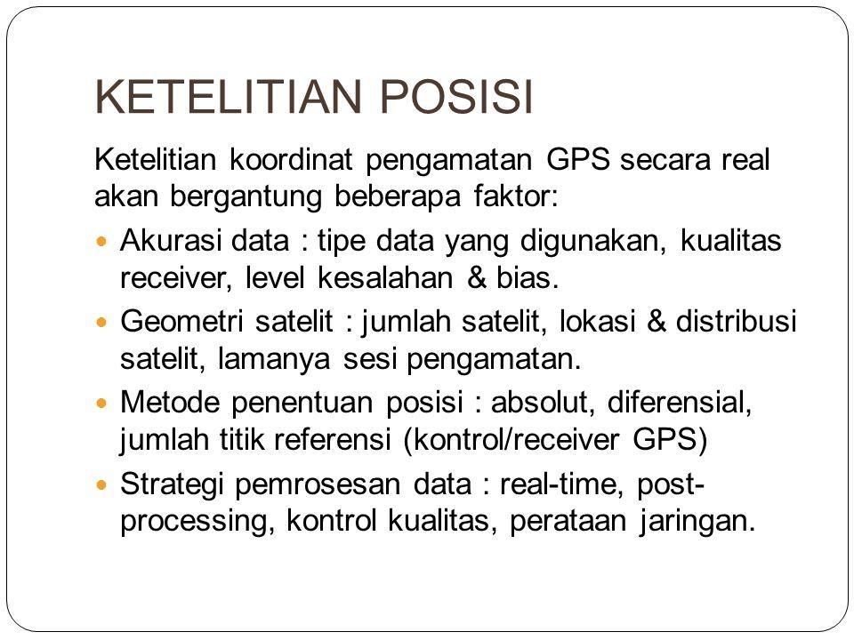 KETELITIAN POSISI Ketelitian koordinat pengamatan GPS secara real akan bergantung beberapa faktor:
