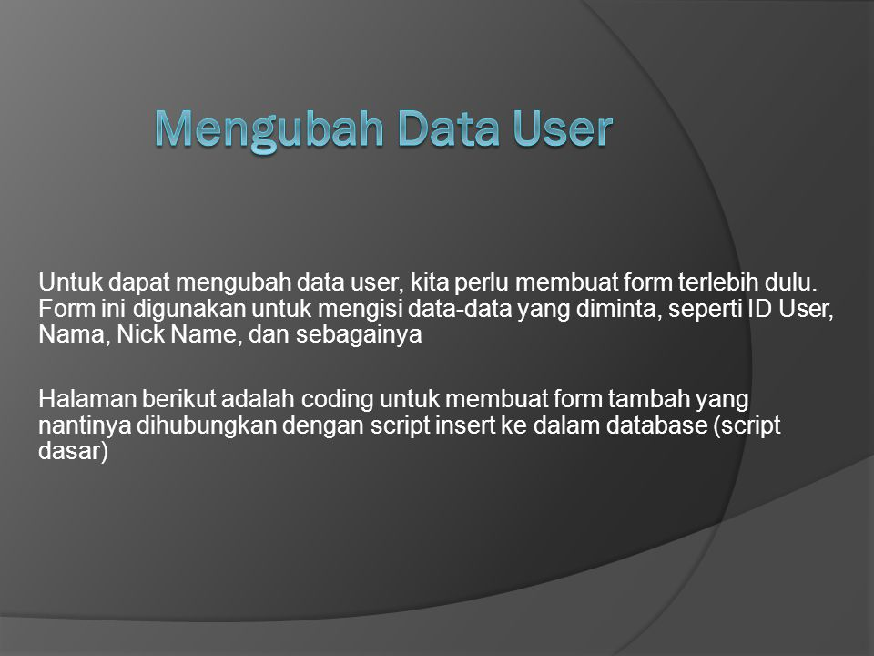 Mengubah Data User