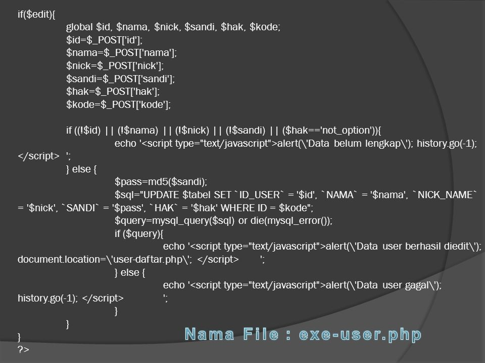 Nama File : exe-user.php