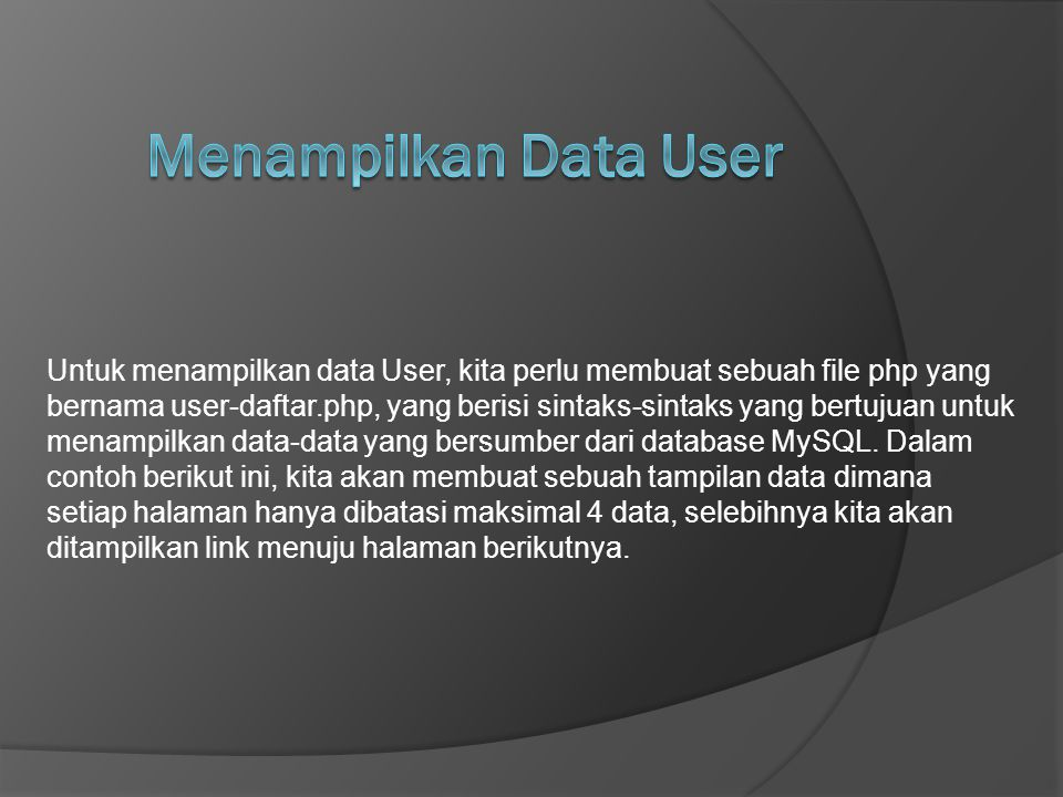 Menampilkan Data User