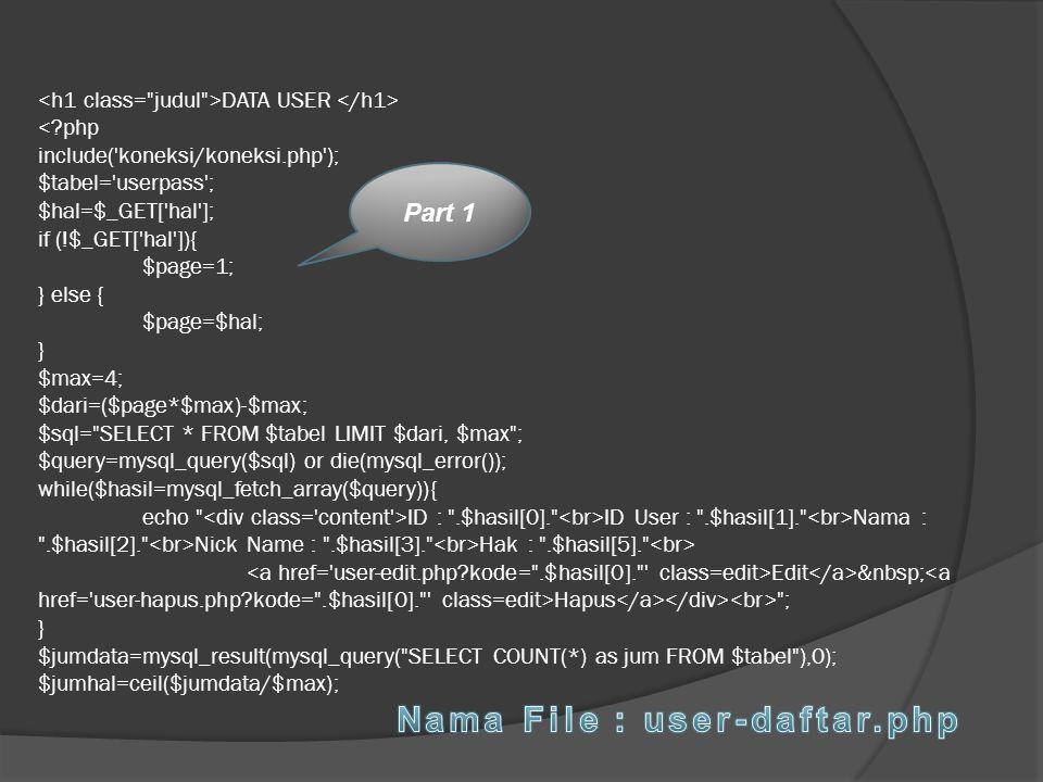 Nama File : user-daftar.php