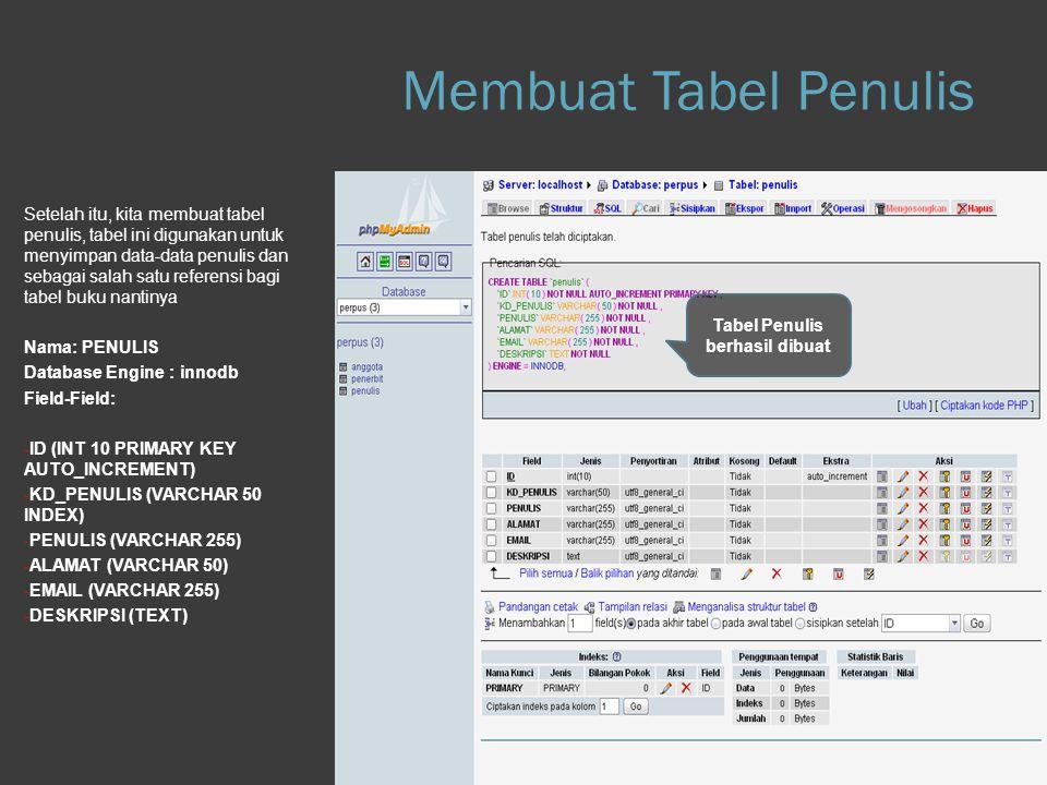 Membuat Tabel Penulis Step 1.d Database