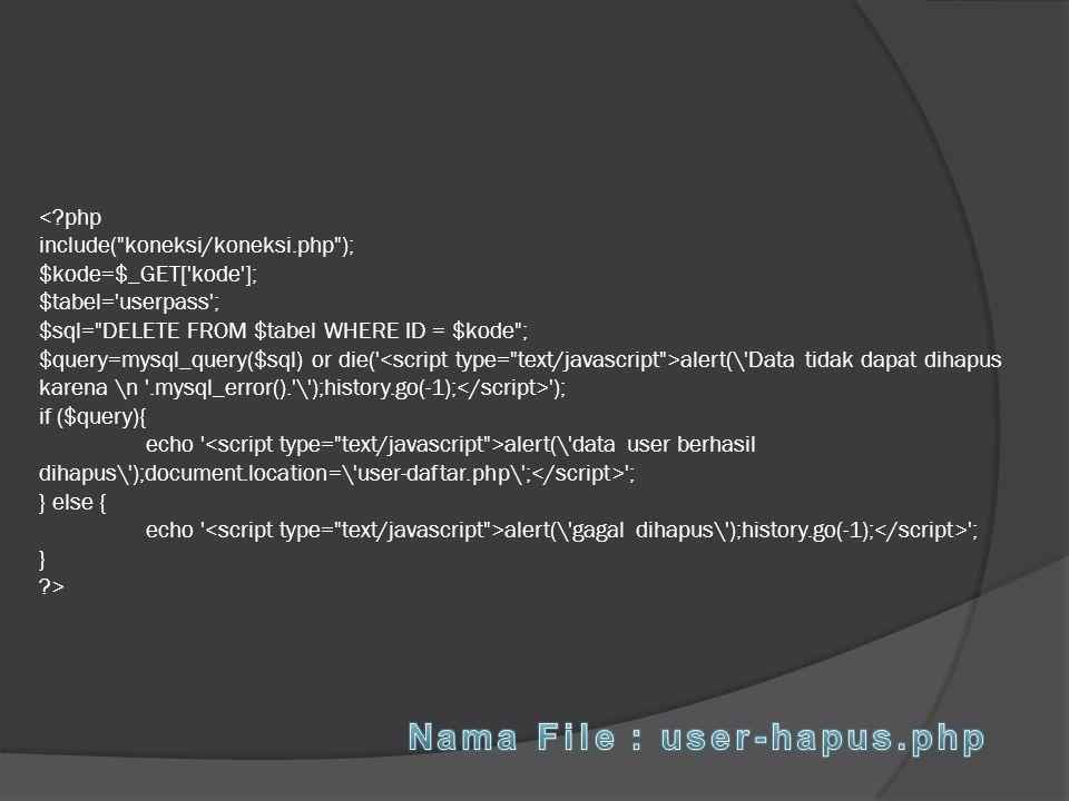 Nama File : user-hapus.php